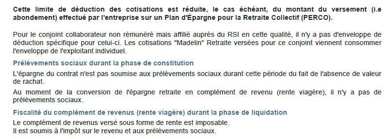 calcul fiscalité retraite Madelin 2